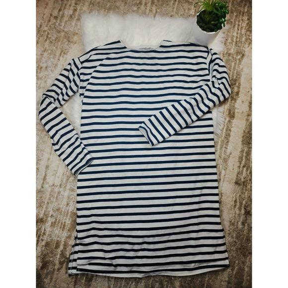 Asos T Shirt Dress Long Sleeve White Navy  4